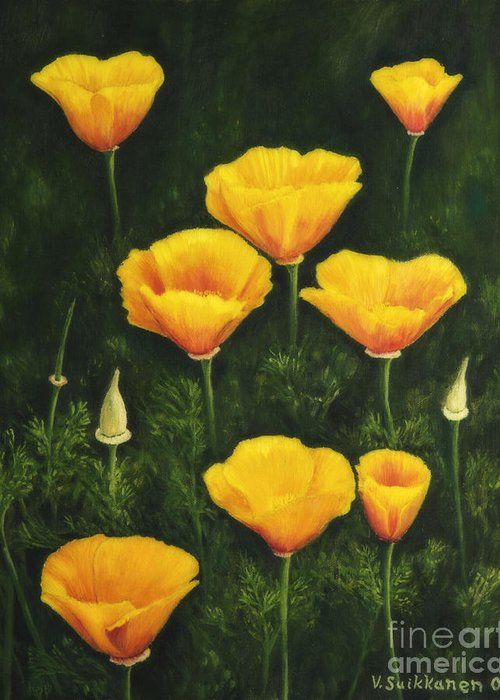 Art Greeting Card featuring the painting California Poppy by Veikko Suikkanen