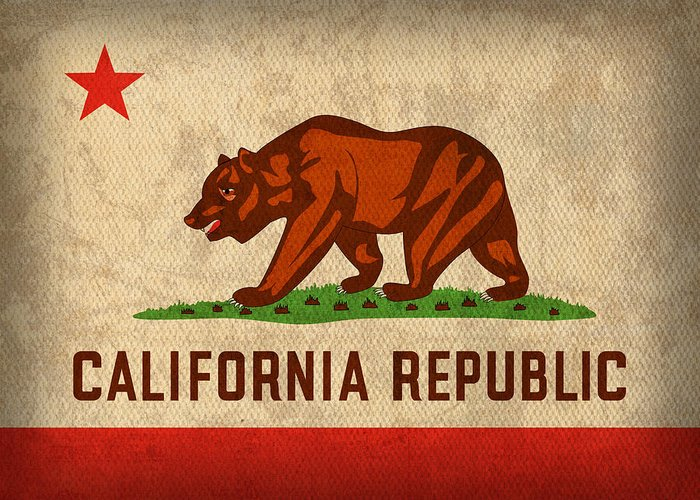 California State Flag Art On Worn Canvas Greeting Card featuring the mixed media California State Flag Art On Worn Canvas by Design Turnpike