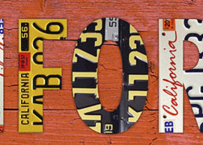 California Greeting Card featuring the mixed media California State Name In License Plates Art by Design Turnpike