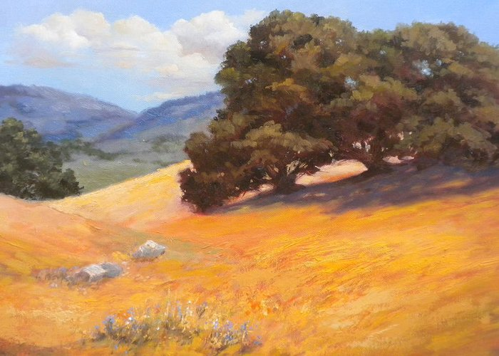 Landscape Greeting Card featuring the painting California Summer by Maralyn Miller