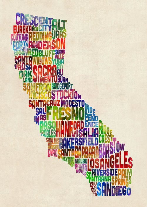 California Greeting Card featuring the digital art California Typography Text Map by Michael Tompsett