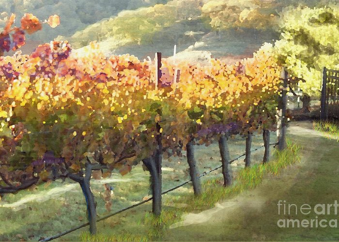 Corde Valle San Martin Ca Greeting Card featuring the painting California Vineyard Series Morning In The Vineyard by Artist and Photographer Laura Wrede