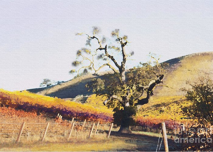 California Wine Country Greeting Card featuring the painting California Vineyard Series Oaks In The Vineyard by Artist and Photographer Laura Wrede