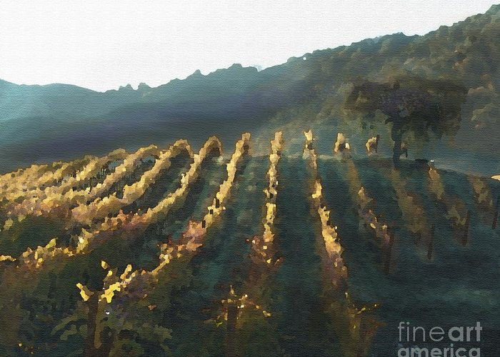 Corde Valle San Martin Ca Greeting Card featuring the painting California Vineyard Series Wine Country by Artist and Photographer Laura Wrede