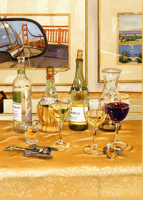 California Greeting Card featuring the painting California Wine And Watercolors by Mary Helmreich
