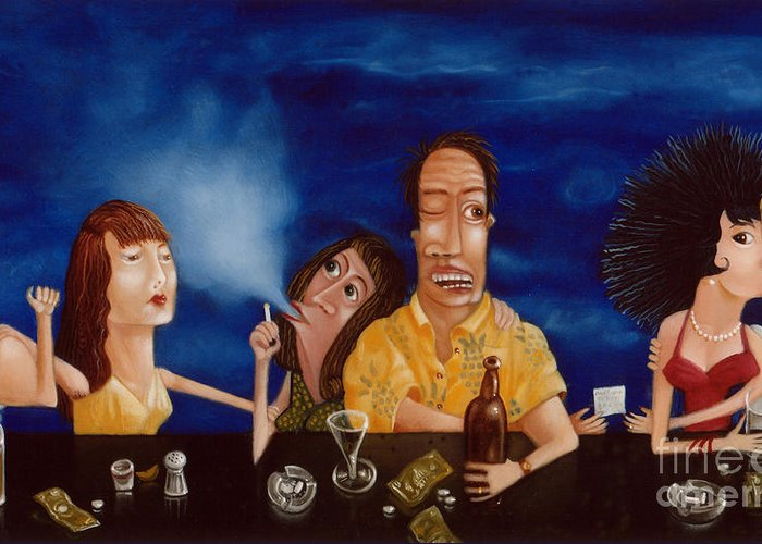 Bar Scene Greeting Card featuring the painting Call Me 1995 by Larry Preston