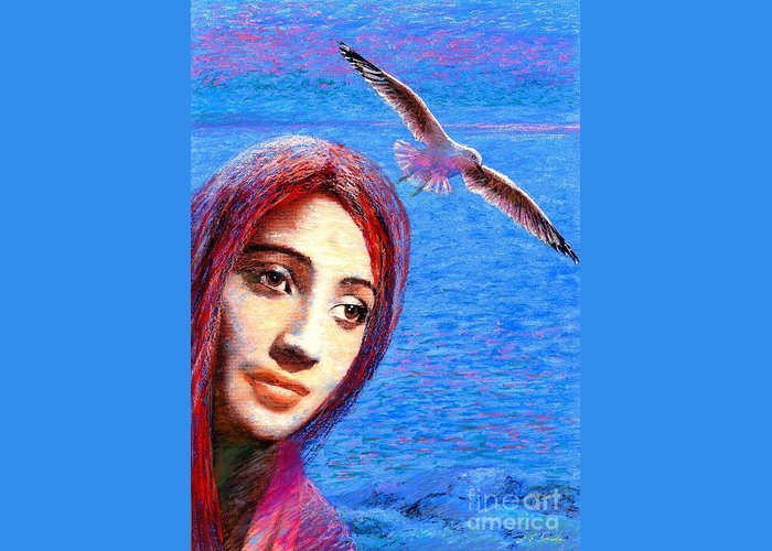 Mystical Greeting Card featuring the painting Call Of The Deep by Jane Small