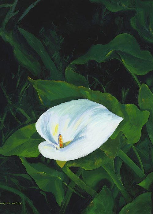 Calla Lily Greeting Card featuring the painting Calla Lily in the Garden of Diego and Frida by Judy Swerlick