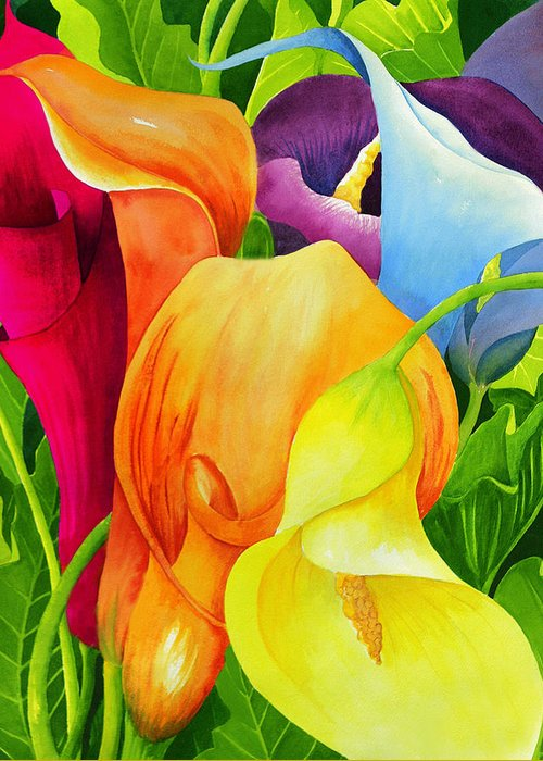 Flower Paintings Greeting Card featuring the painting Calla Lily Rainbow by Janis Grau