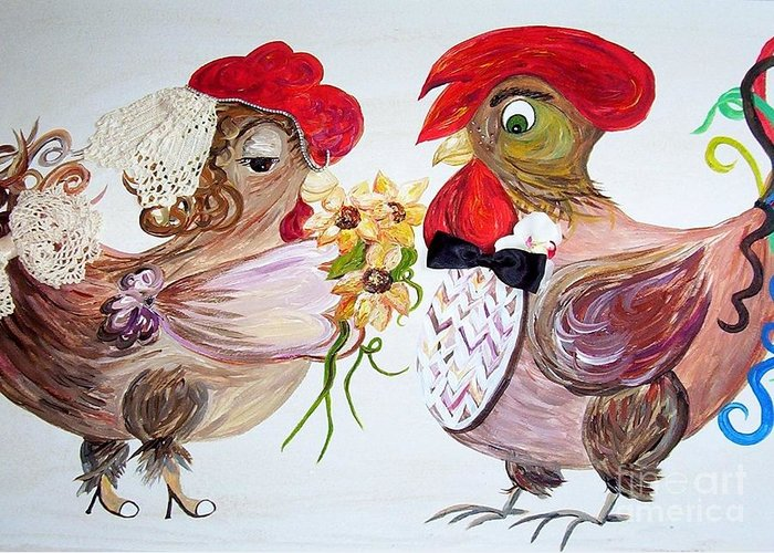 Rooster Greeting Card featuring the painting Calling All Chicken Lovers Say I Do by Eloise Schneider Mote