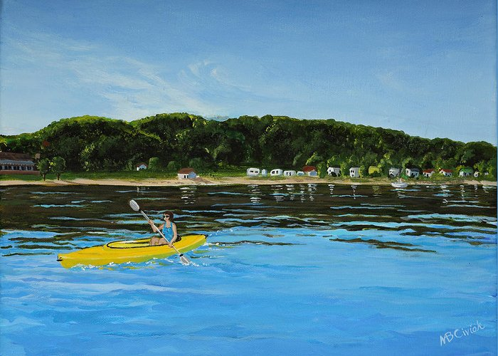Kayaking Greeting Card featuring the painting Calm Morning by Mary Anne Civiok