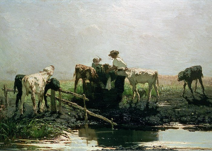 Hague School Greeting Card featuring the painting Calves At A Pond, 1863 by Willem Maris