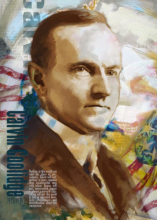 Calvin Cooldige Greeting Card featuring the painting Calvin Coolidge by Corporate Art Task Force
