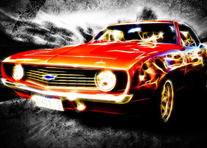 Red Camaro Greeting Card featuring the photograph Camaro'd by Phil 'motography' Clark