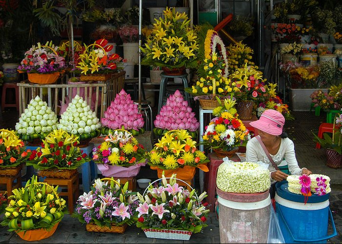 Arrangement Greeting Card featuring the photograph Cambodia Flower Seller by Mark Llewellyn