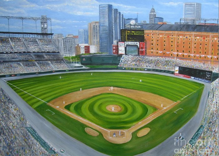 Camden Yards Greeting Card featuring the painting Camden Yards by Laura Corebello