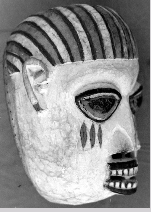 Masks Greeting Card featuring the photograph Cameroon Tribal Mask by Jerry Stivers
