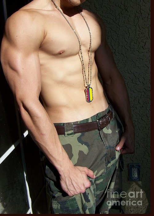 Male Bodybuilder Greeting Card featuring the photograph Camouflage Muscle by Gary F