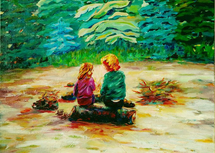 Kids Greeting Card featuring the painting Campfire Comfort by Naomi Gerrard