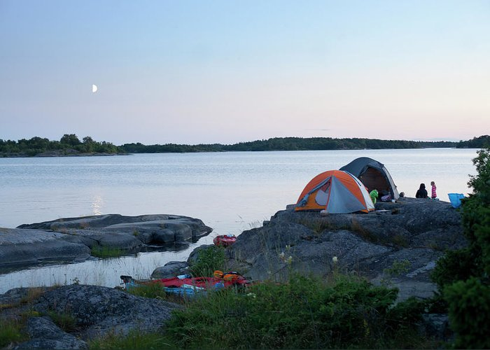 Archipelago Greeting Card featuring the photograph Camping At Coast At Evening by Johner Images