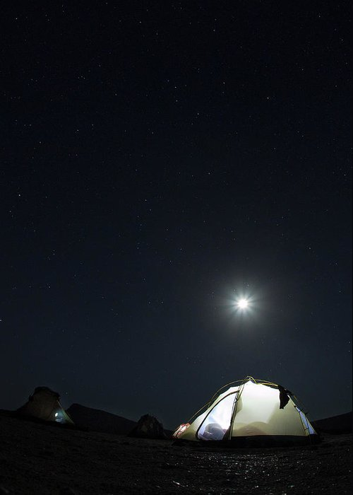 Camping Greeting Card featuring the photograph Camping On The Beach Under The Moon And by Anna Henly