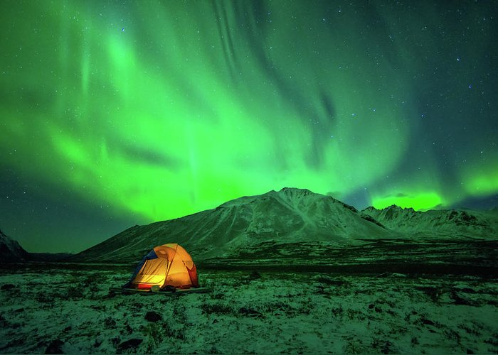 Camping Greeting Card featuring the photograph Camping Under Northern Lights by Piriya Photography