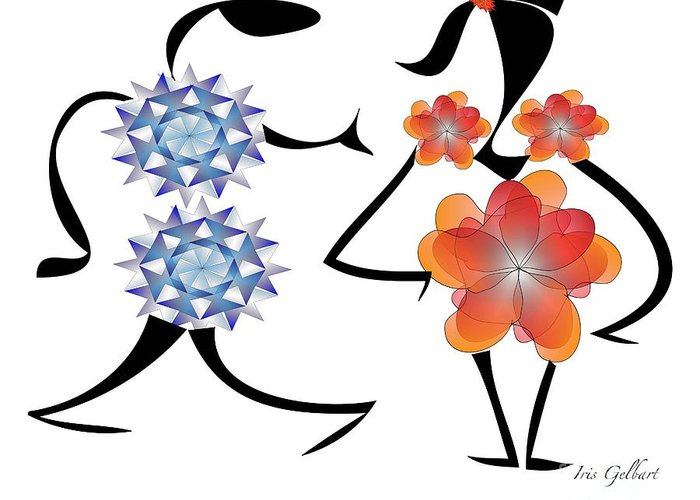 Cartoons Greeting Card featuring the digital art Can I Have This Dance by Iris Gelbart