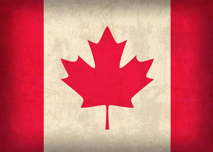 Canada Greeting Card featuring the mixed media Canada Flag Vintage Distressed Finish by Design Turnpike
