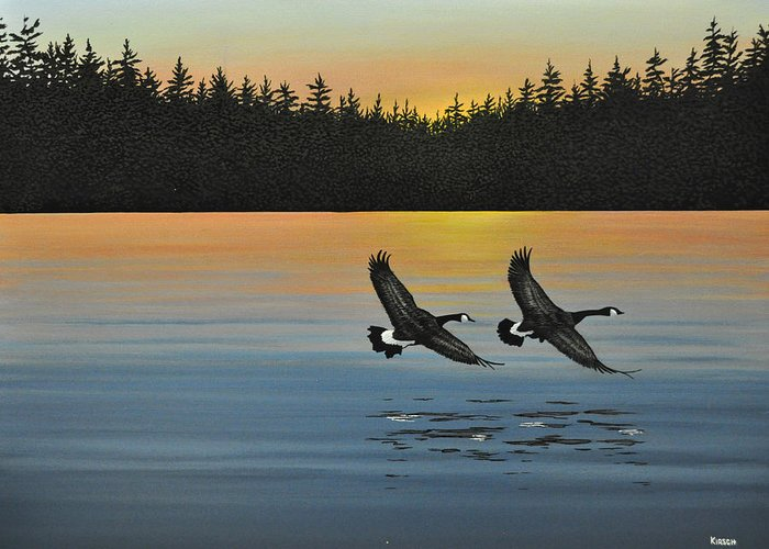 Canada Geese. Bireds Greeting Card featuring the painting Canada Geese by Kenneth M Kirsch