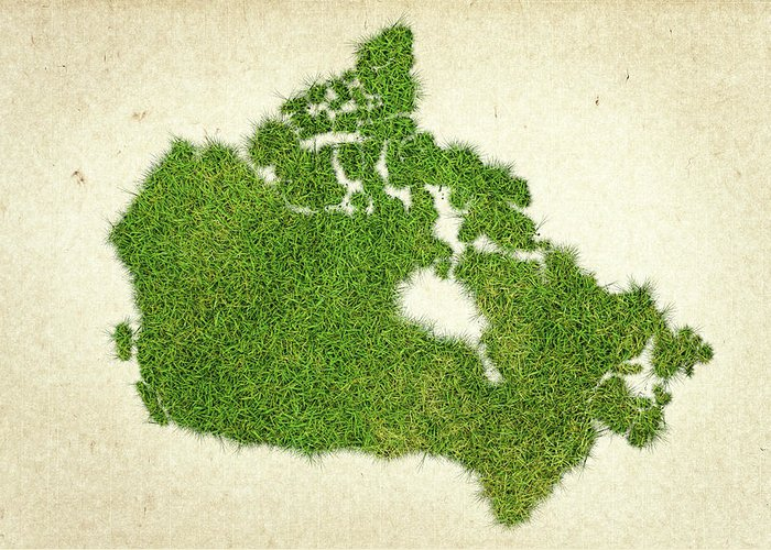 Map Of Canada Greeting Card featuring the photograph Canada Grass Map by Aged Pixel