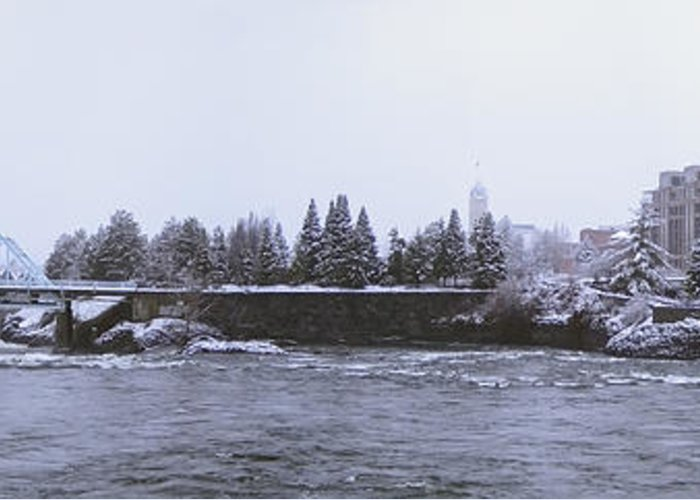 Spokane Greeting Card featuring the photograph Canada Island And Spokane River by Daniel Hagerman