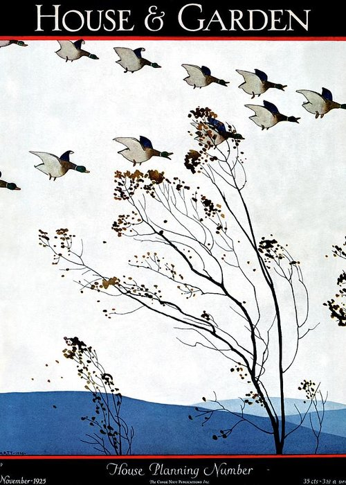 House And Garden Greeting Card featuring the photograph Canadian Geese Over Brown-leafed Trees by Andre E. Marty