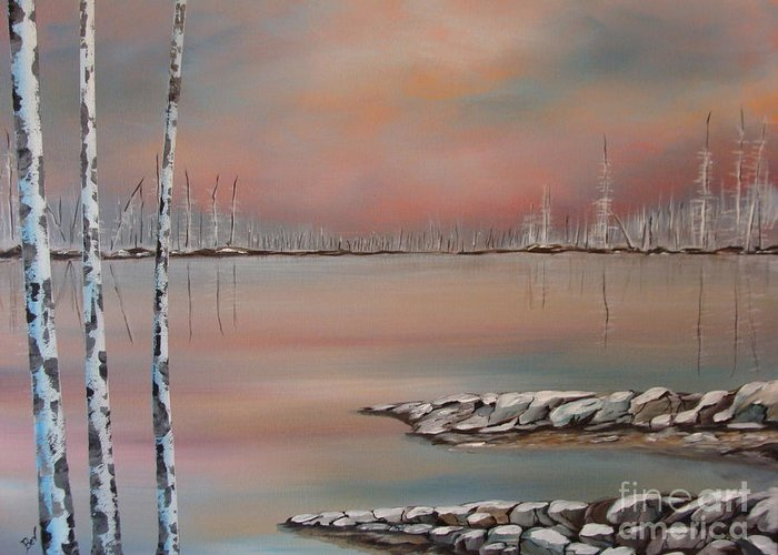 Landscape Prints Greeting Card featuring the painting Canadian Northern Reflections by Beverly Livingstone