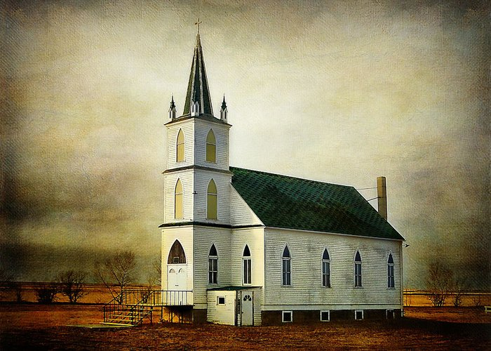 Church Greeting Card featuring the photograph Canadian Prairie Heritage by Blair Wainman