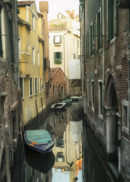 Venice Greeting Card featuring the photograph Canal Boats And Reflections Venice Italy by Marianne Campolongo