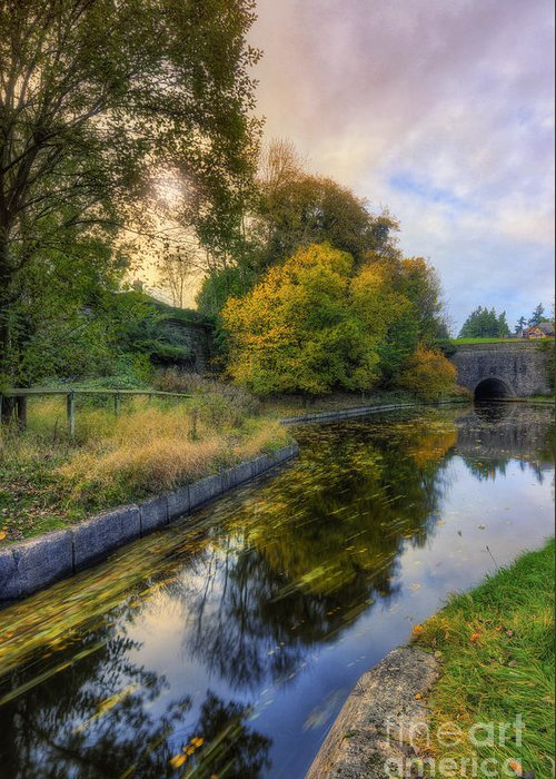 Canal Greeting Card featuring the photograph Canal Drifting Leaves by Ian Mitchell