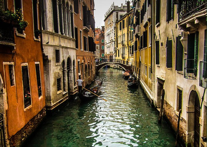 Venice Greeting Card featuring the photograph Canal In Venice by Jason Schwass