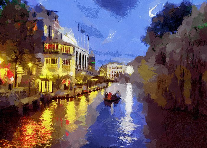 Canals Of Amsterdam Greeting Card featuring the painting Water Canals Of Amsterdam by Georgi Dimitrov