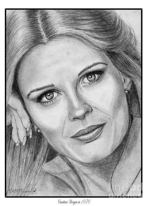 Mccombie Greeting Card featuring the drawing Candace Bergen In 1976 by J McCombie