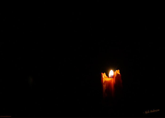 Candle Greeting Card featuring the photograph Candle In The Dark by Mick Anderson