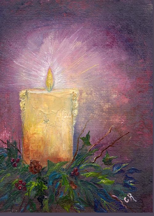 Holly Greeting Card featuring the painting Candlelight by Carol Rowland