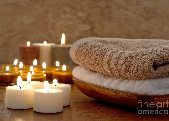 Spa Greeting Card featuring the photograph Candles And Towels In A Spa by Olivier Le Queinec