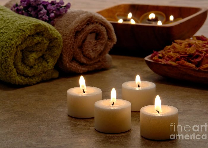 Spa Greeting Card featuring the photograph Candles In A Spa by Olivier Le Queinec