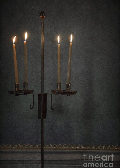 Wood Greeting Card featuring the photograph Candles In The Dark by Margie Hurwich