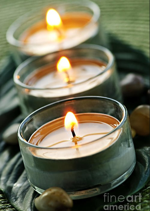 Candles Greeting Card featuring the photograph Candles On Green by Elena Elisseeva