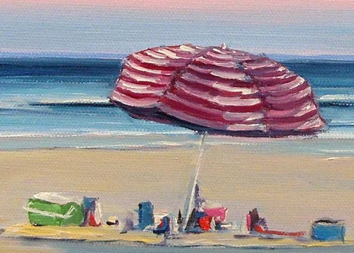 Beach Greeting Card featuring the painting Candy Cane Umbrella by Dianna Poindexter