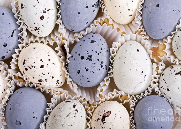 Background Greeting Card featuring the photograph Candy Eggs by Jane Rix