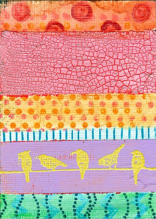 Art Greeting Card featuring the painting Candy Stripes by Jen Kelly Hirai
