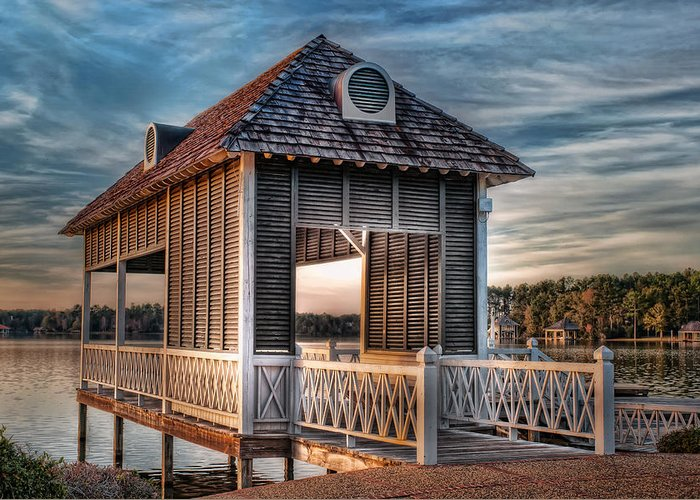Canebrake Greeting Card featuring the photograph Canebrake Boat House by Brenda Bryant