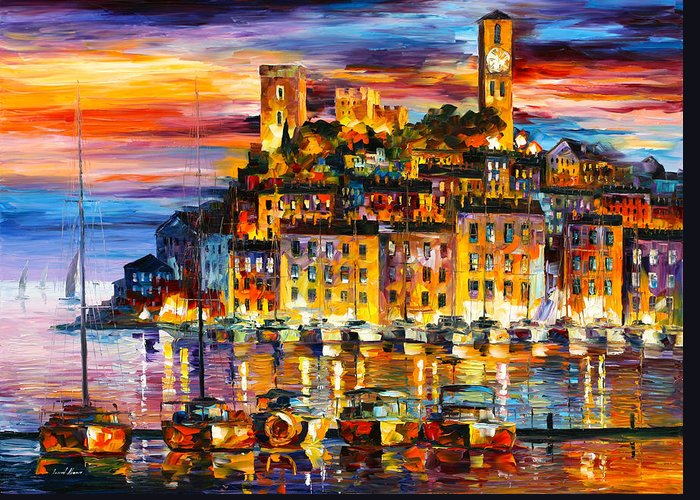 Cannes Greeting Card featuring the painting Cannes France by Leonid Afremov